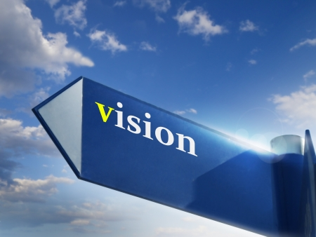 vision road sing for business and financial concepts Stock Photo