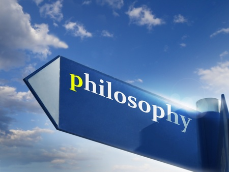 philosophy blue road sign over sky background photo