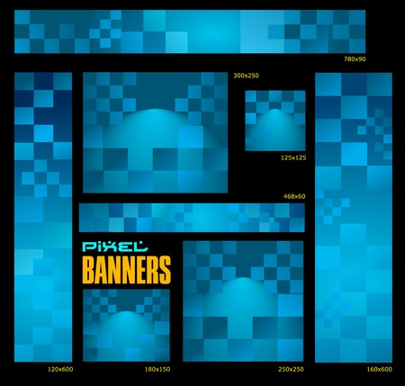 pixelated: mosaic banners Illustration
