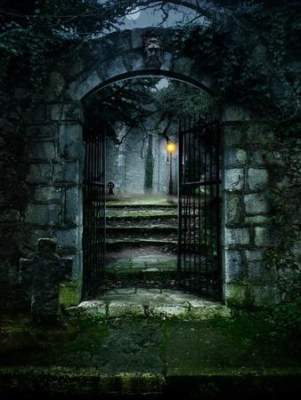 illustratie van een donker spookhuis oud huis