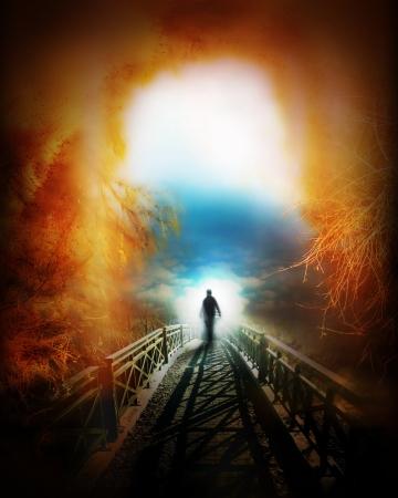 himlen: livet efter döden, religiösa begrepp illustration Stockfoto