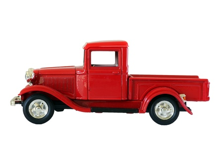 red pickup truck isolated on white background.path included photo