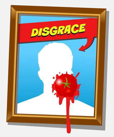 splashed: Vector frame with faceless man and splashed tomato  For propaganda and   funny concepts  Replace the photo with your favorite one