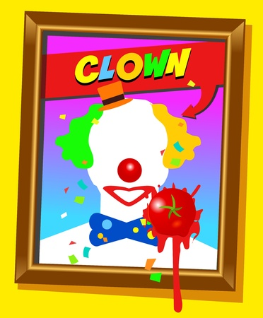 Vector frame with faceless man like clown and splashed tomato. For propaganda and funny concepts. Replace the photo with your favorite one!!! Stock Vector - 13060558