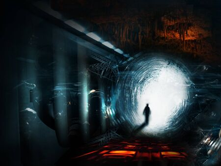 supernatural: walking man on a fantasy perspective space landscape