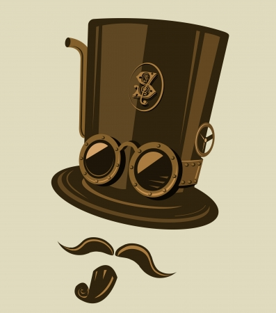 Steampunk style top hat with goggles and other retro elements. Place the top hat the mustache and the goatee on your photos and become a steampunk hero.