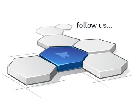 follow us abstract scheme Vector