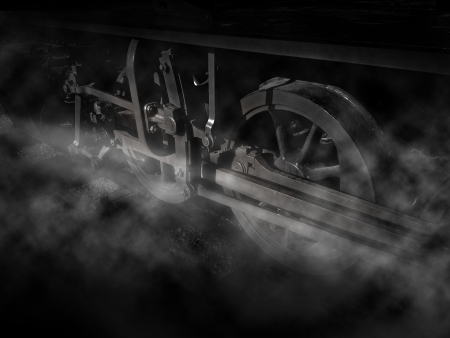 vintage train wheels with steam in Black and white photo