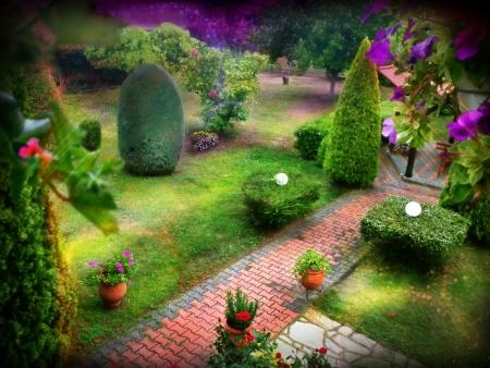 home garden: illustration of a fantasy garden Stock Photo