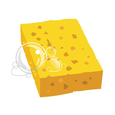 kitchen shower: yellow sponge with bubbles vector illustration