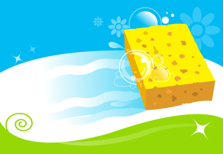 wet cleaning: cleaning services vector illustration Illustration