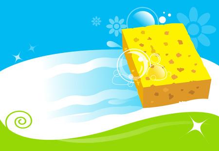 servicio domestico: ilustración vectorial servicios de limpieza