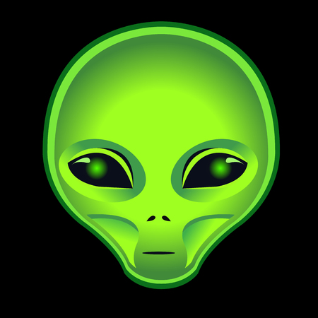 vector alien green head on black background