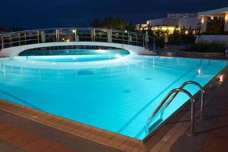 Night illumination in the swimming pool in resort Stock Photo