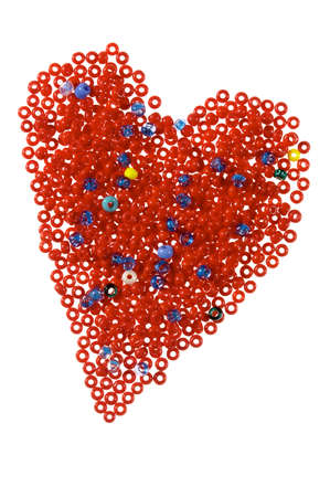 Heart made of red glass beads, isolated on white Stock Photo