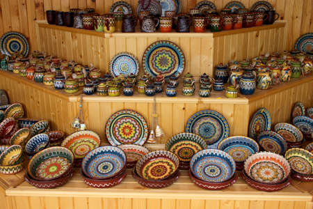 ceramic handmade crockery and dishes in souvenir store