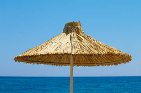 sunshade on the background of blue sky Stock Photo