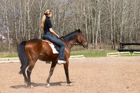 Girl riding on brown horse