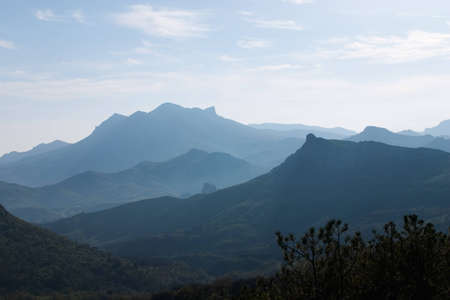 uplands: Mountainous country in the light haze  Stock Photo