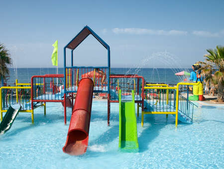 water playground in swimming pool in sea resort Stock Photo