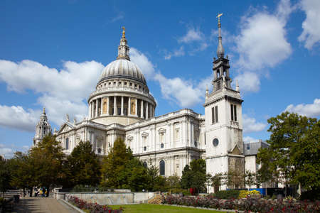 st pauls cathedral: St Pauls cathedral in London and sky with clouds