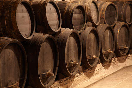 Old wine cask in winery cellar Stock Photo