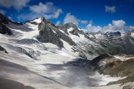 Extreme landscape of high mountains with ice fields