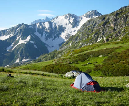 bivouac: Camp on meadow in the high mountains