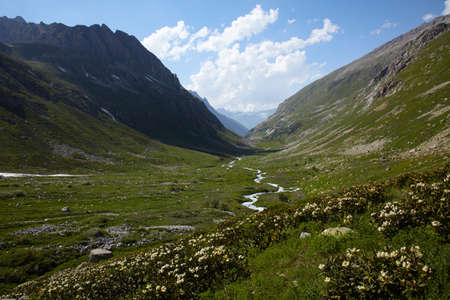 Valley with river in a high mountains