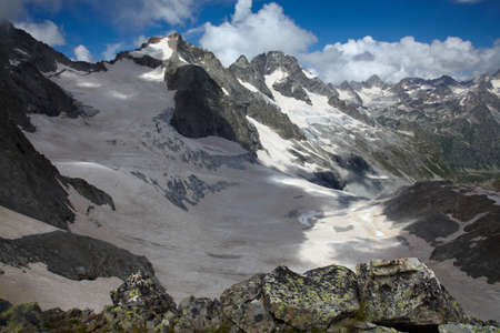 Snowy valley in a Caucasus mountains