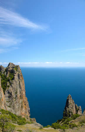 Big rock at the sea coast Stock Photo