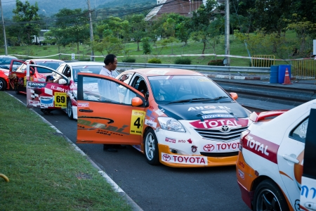 Chiang Mai, Thailand, 20 October 2012 : Toyota Vios line up in pit lane before take a qualify lap