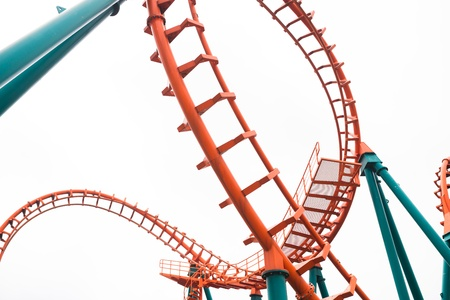 rollercoaster: A segment of a roller coaster in Siam Park Thailand isolated