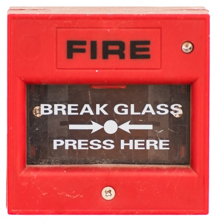 activate: Red fire alarm equipment activate by button method, isolated Stock Photo