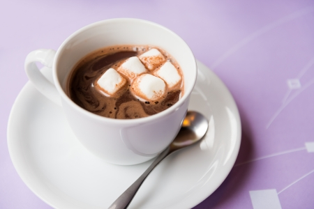 cup of hot chocolate with marshmallows topping photo