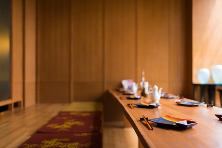 Japanese restaurant with earth tone wooden style photo