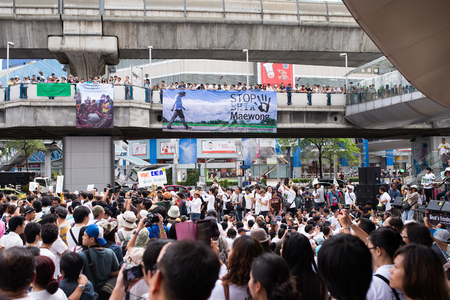 protesters: BANGKOK - September 22   Protesters gathered as Stop EHIA campaign at Pathum Wan Intersection in Bangkok, Thailand