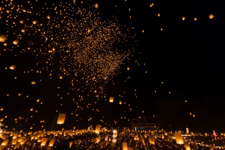 CHIANGMAI - November 16   Unidentified People launch sky lanterns to the sky in Loy Kratong festival on November 16,2013 in Chiangmai,Thailand  photo