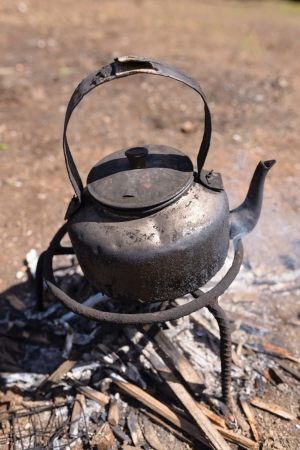 Tea pot on firewood photo