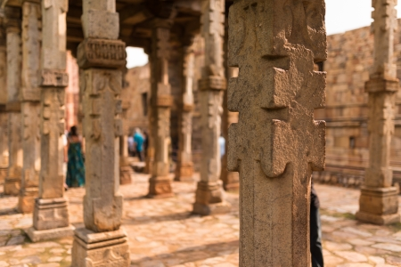 Detail of small pillar in Qutub Minar photo