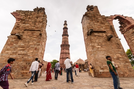 NEW DELHI - AUGUST 11   People travel visiting in Qutub Minar,2013 in New Delhi, India