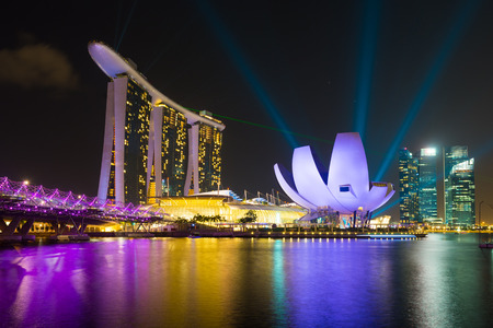 Marina Bay Sands hotel with laser lighting show Singapore cityscape