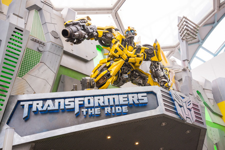 SINGAPORE, AUGUST 26,2013 : Bumble Bee at front gate of Transformers the Ride in Universal Studios , August 26, 2013, Singapore
