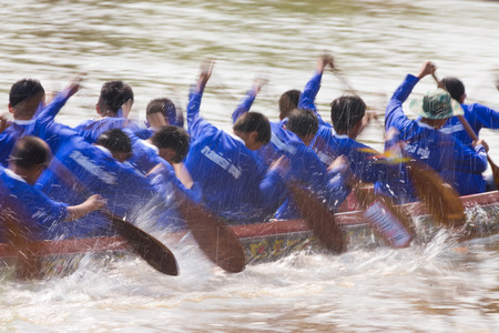 NAN - October 13 : Unidentified people rowing in boat race traditional events ,October 13, 2013 Nan, Thailand.
