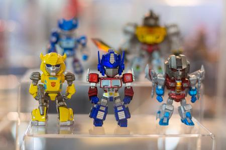 BANGKOK - MAY 4,2014 : Various cartoon version of heroes from Transformers model on display in Thailand Toy Expo 2014 on May 4, 2014 at Centralworld, Bangkok, Thailand.