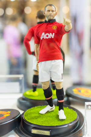 BANGKOK - MAY 4,2014 : Ryan Giggs Manchester United football player model on display in Thailand Toy Expo 2014 on May 4, 2014 at Centralworld, Bangkok, Thailand.