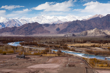 gompa: Landscape of river and mountain front of leh monastery