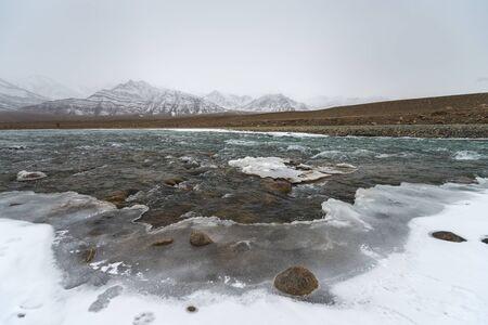 frozen lake: landscape of frozen lake mountain