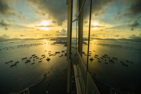 ifc: sunset reflect on SKY100 windows Stock Photo