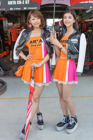 buriram: BURIRAM - OCTOBER 4 : ARTA Project race queen during pit walk session in Buriram United Super GT Race ,October 4, 2014 Buriram, Thailand.
